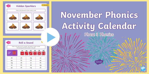 Phase  November Phonics Activity Calendar Powerpoint  Reading