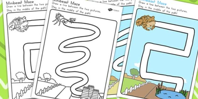 Minibeasts Pencil Control Path Worksheets - fine motor skills