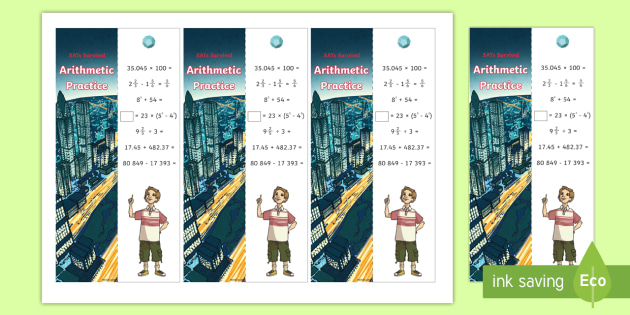 SATs Survival: Year 6 Arithmetic Practice Maths Bookmarks Pack 5