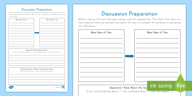 Discussion Preparation Writing Worksheet / Worksheet