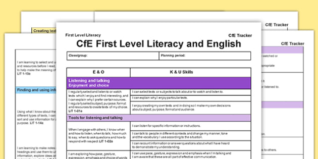 Literacy and English CfE First Level Tracker - CfE, planning, tracking, literacy, language, I can, First