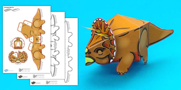 Simple 3D Printable Paper Triceratops Dinosaur Activity - simple, 3d, printable, dinosaurs, paper, paper model, model, craft, activity, triceratops