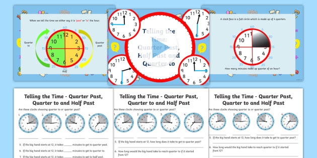 Telling Time KS1 Powerpoint and worksheet - Twinkl