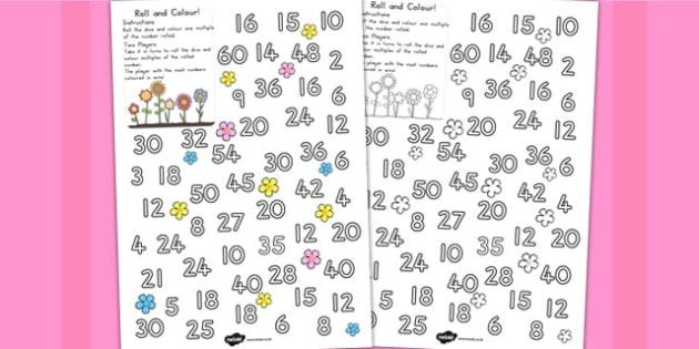 Flower Roll And Colour Worksheet - australia, worksheet, flower