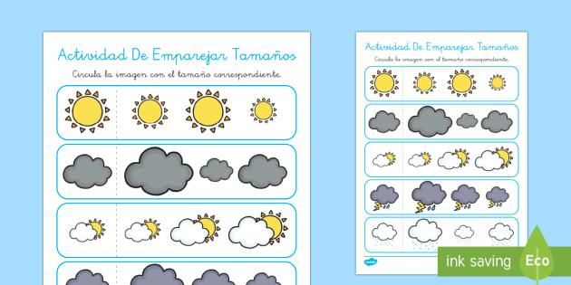 Ficha de emparejar tamaños: El tiempo - El tiempo y las estaciones del año, proyecto, tipos de tiempo, vocabulario,Spanish