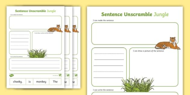 Jungle sentence unscramble worksheets jungle sentence game ccuart Images