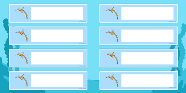 Leafy Sea Dragon Themed Resource Labels - leafy sea dragon, sea creature, resource labels, labels, display