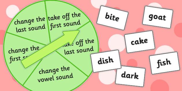 Phoneme Manipulation Spinner Game - games, activity, activities