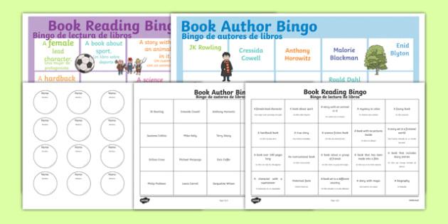 Book Reading Bingo Spanish Translation - spanish, Book bingo, bingo, authors, childrens authors, morpurgo, roald dahl, Rowling, science fiction, genres, scifi, reading