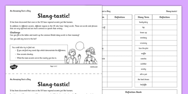 Slang-Tastic Activity Sheet - slang, regional, fact of the day, activity, worksheet