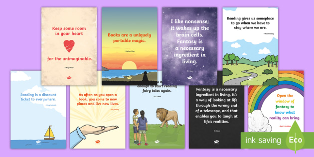 Inspirational Reading Corner Quotes Display Posters - School