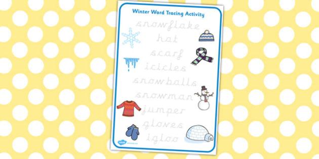Winter Words Tracing Activity - winter, words, tracing, activity