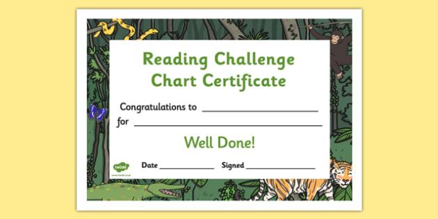 Reading Challenge Chart Certificates Jungle Themed - Reading Challenge Chart Certificates, Jungle Themed Certificate, Reading Certificate