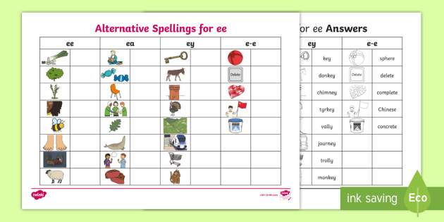 New Alternative Spellings Ee Ey And E E Table Activity