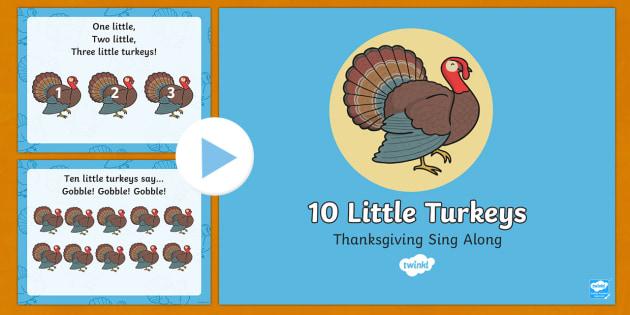 Ten Little Turkeys Sing Along Song PowerPoint