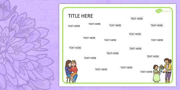 Australia Mother's Day Themed Editable Word Mat