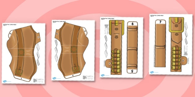 Printable Role Play Cowboy Holster Prop - printable, cowboy, holster, prop