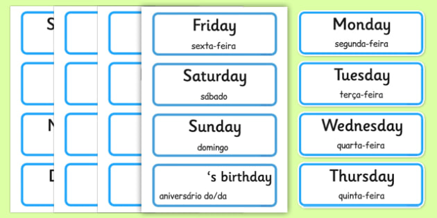 Days of the Week, Months of the Year Labels Portuguese Translation - portuguese, days, week, months, year