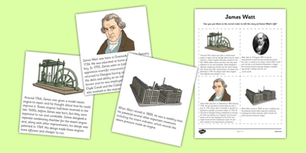 Scottish Significant Individuals James Watt Sequencing Activity Sheet - CfE, significant individuals, engineering, steam engine, horsepower, watt, science, inventions, inventor, curriculum, excellence, worksheet