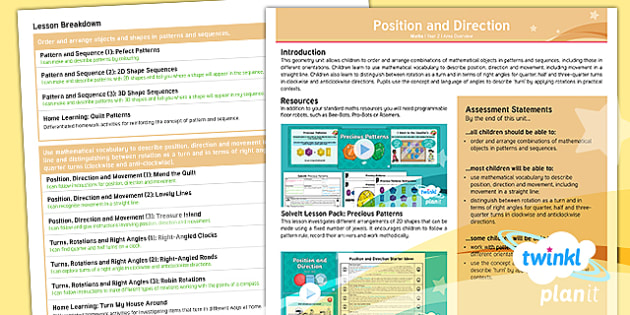PlanIt Maths Y2 Position and Direction Overview