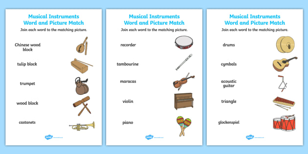 Musical Instruments Word And Picture Matching Worksheet
