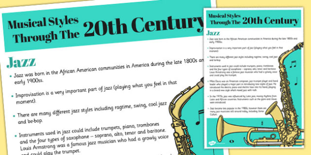 Musical Styles Through the 20th Century Jazz Information Poster