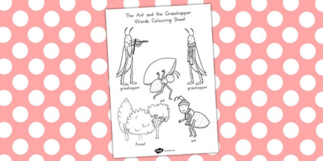 The Ant and the Grasshopper Words Colouring Sheet - colour, word
