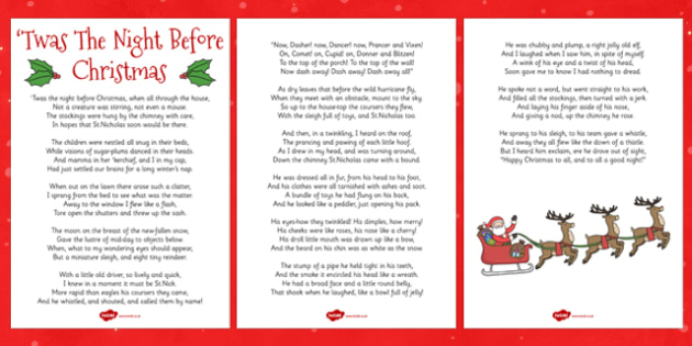 Twas The Night Before Christmas Lyric Sheet Teacher Made
