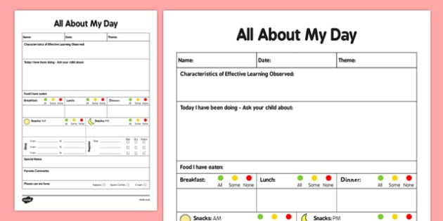 Care Sheet for Under 3s - daily record, daily diary, care sheet, care, sheet, under 3, 3