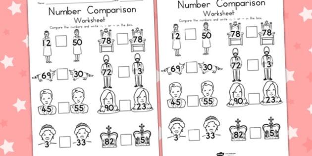 Royal Family Number Comparison Worksheet - queen elizabeth, queen