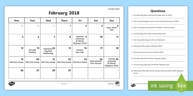 Calendar Reading Worksheet : Problem solving calendar work february worksheet