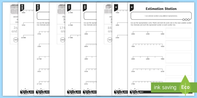 Estimation Involving Different Representations Differentiated Activity Sheet - Part Whole , number line, challenge, maths mastery, singapore maths, shanghai maths, base 10, dienes, part whole