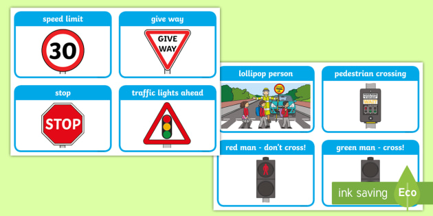Road Safety Cards Road Signs Give Way One Way Cards