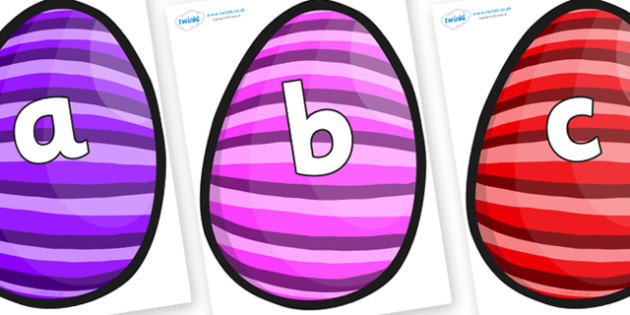 Phoneme Set on Easter Eggs (Stripes) - Phoneme set, phonemes, phoneme, Letters and Sounds, DfES, display, Phase 1, Phase 2, Phase 3, Phase 5, Foundation, Literacy