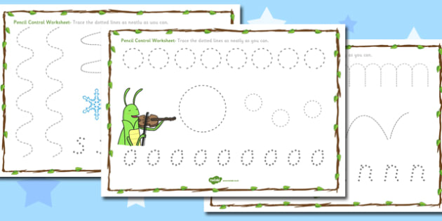 The Ant and the Grasshopper Pencil Control Sheets - Ant, Control