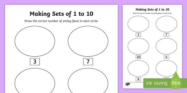 Senior Infants Making Sets 1-10 Worksheet / Activity Sheet