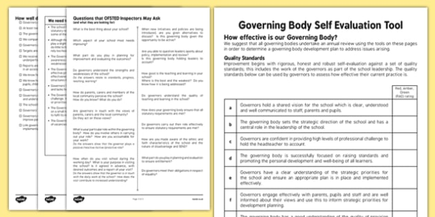 Self-Evaluation Document for Governing Body - self-evaluation, document, governing body