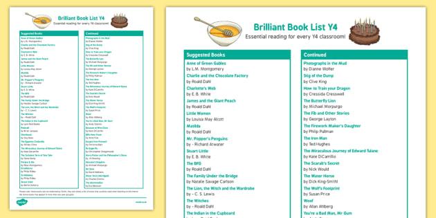 Brilliant Book List Y4