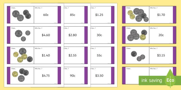 Australian Coin Matching Loop Cards-Australia - Australian currency currencycoinsmoneycountingmatching,Australia