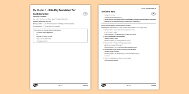 My Studies 1 Role Play Foundation Tier Spanish -  EAL, translated, conversation, speaking