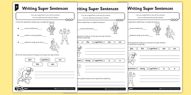 writing super sentences differentiated worksheet worksheet pack gps. Black Bedroom Furniture Sets. Home Design Ideas