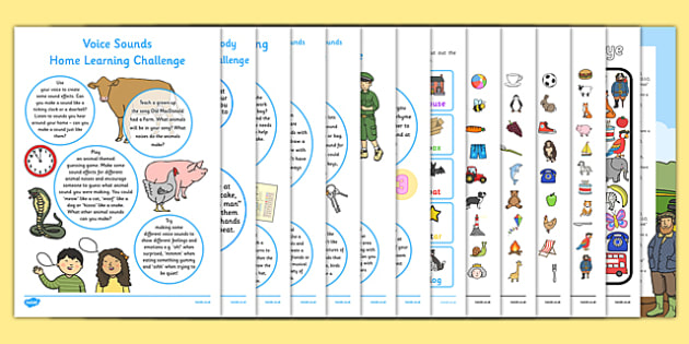 Letters and Sounds Phase 1 EYFS Home Learning Challenge Sheet Resource Pack Nursery FS1 - EYFS planning, Early years activities, homework activities, phonics, Letters and Sounds, Phase 1, Aspects 1 to 7.