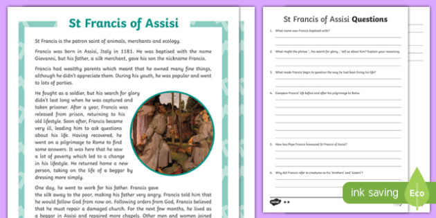 St Francis of Assisi Differentiated Reading Comprehension Activity