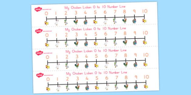 Chicken Licken Number Lines 0-10 - australia, chicken licken