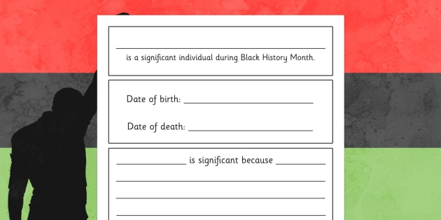 Black History Month Significant Individuals Writing Frame -  past