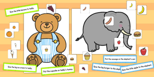 Elephant and Teddy Following Instructions Word Game 3ICW - games