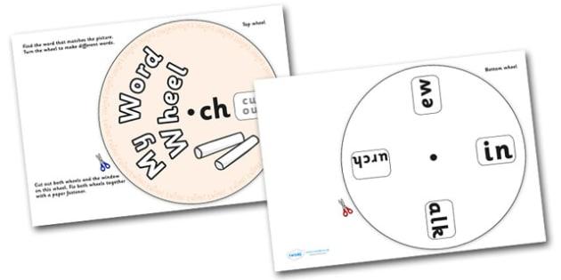 Phonics Digraph Word Wheel (ch) - Phonics, Digraph, word wheel, ch, DfES Letters and Sounds, Letters and Sounds