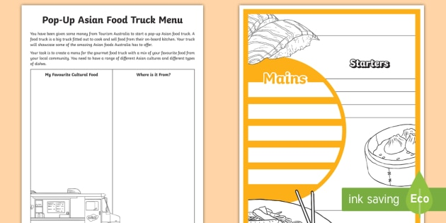 Cultural Diversity Pop Up Food Truck Challenge Worksheet