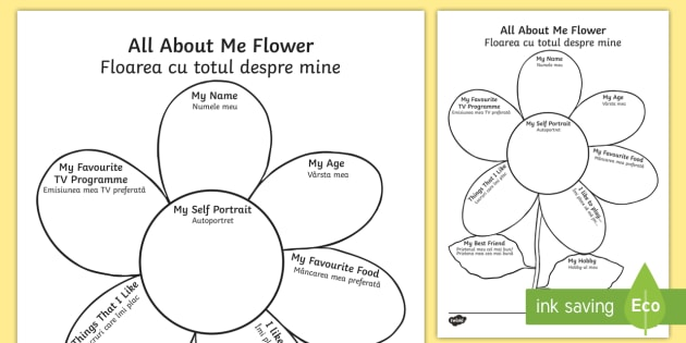 All About Me Flower Writing Template English/Romanian - Ourselves, All about me, family, Ks1, Y1, Year 1, EYFS, Reception, Growing, growth, flower, EAL