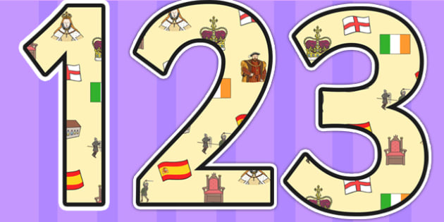 Elizabeth I Themed Display Numbers - elizabeth I, elizabeth 1st, display numbers, themed numbers, classroom numbers, numbers for display, display, numbers
